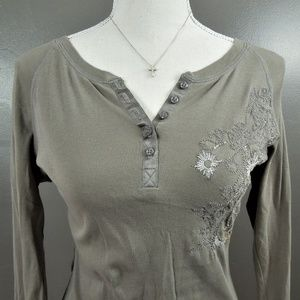 Roxy Embroidered Henley Top Olive Green M